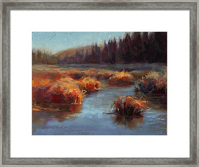 Misty Autumn Meadow With Creek And Grass - Landscape Painting From Alaska Framed Print by Karen Whitworth