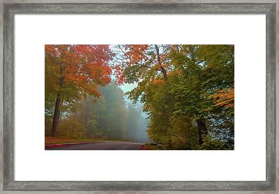 Misty Autumn Road Framed Print by Art Spectrum