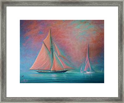 Misty Bay Rendevous Framed Print