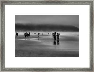 Misty Beach Framed Print by David Patterson