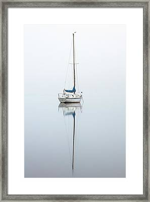 Framed Print featuring the photograph Misty Boat by Grant Glendinning