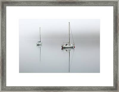 Framed Print featuring the photograph Misty Boats by Grant Glendinning