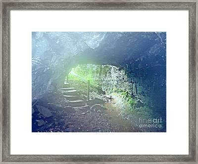 Misty Cave Entrance Framed Print by Karen Wallace