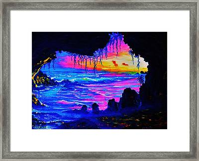 Misty Cave Sunset Framed Print