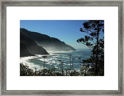 Misty Coast At Heceta Head Framed Print by James Eddy