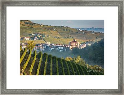 Misty Dawn Over Barolo Framed Print by Brian Jannsen