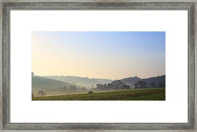 Misty Dawn Over The Cornish Countryside Framed Print