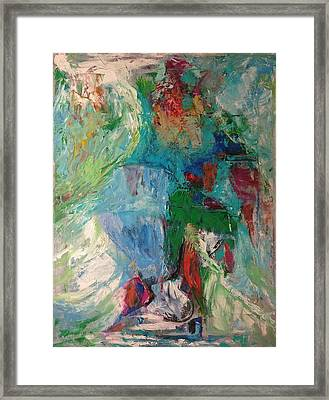 Framed Print featuring the painting Misty Depths by Nicolas Bouteneff