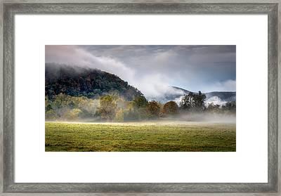 Misty Field Framed Print