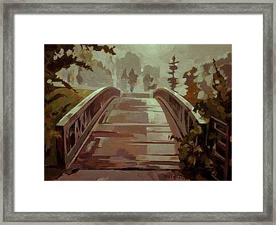 Misty Footbridge Framed Print by Tim  Heimdal