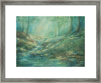 The Misty Forest Stream Framed Print by Mary Wolf