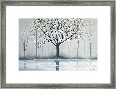 Misty Green River Framed Print by Peggy Davis