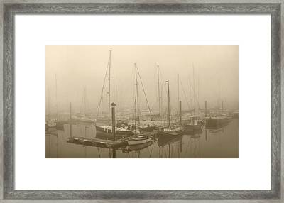Misty Harbour Framed Print