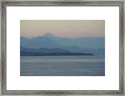 Misty Hills On The Strait Framed Print