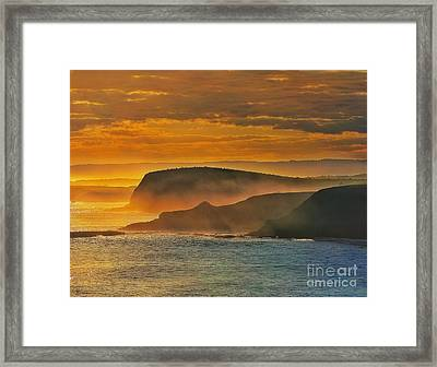 Misty Island Sunset Framed Print