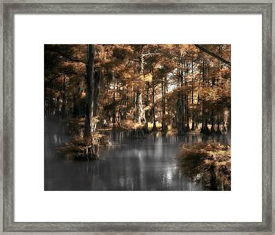 Misty Lake Framed Print by Cecil Fuselier