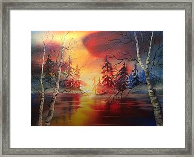 Misty Lake Framed Print by Marilyn Jacobson