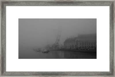 Misty London Eye Framed Print by Maj Seda