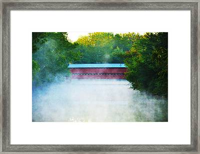 Misty Marsh Creek - Sachs Covered Bridge Gettysburg Pa. Framed Print by Bill Cannon