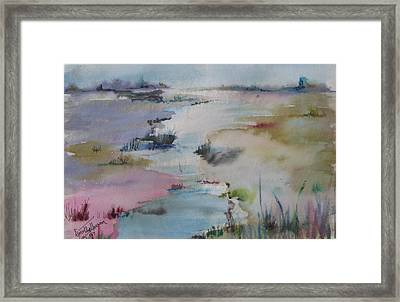 Misty Marsh Framed Print by Dorothy Herron