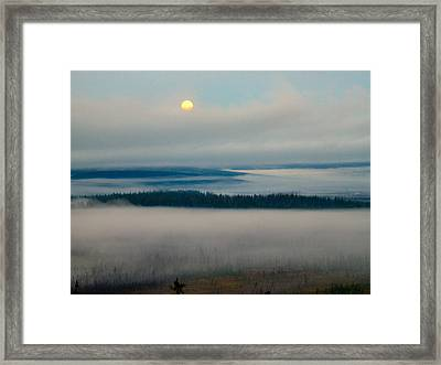 Framed Print featuring the photograph Misty Morning Along The Jim River by Adam Owen
