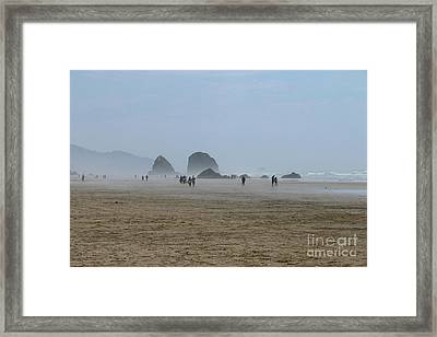Misty Morning At Cannon Beach Framed Print