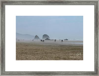 Misty Morning At Cannon Beach Framed Print