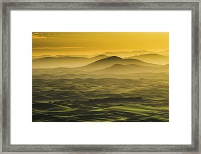 Misty Morning At Palouse. Framed Print