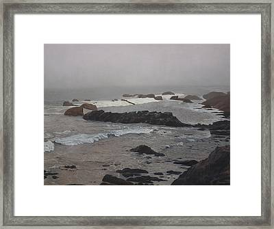 Misty Morning At Ragged Point, California Framed Print