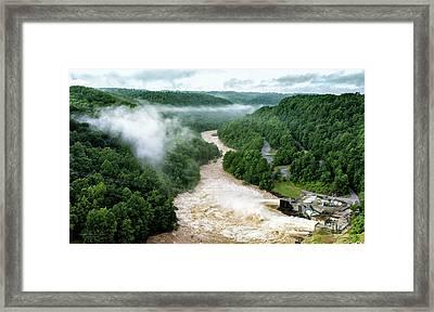 Misty Morning At Summersville Lake Dam Framed Print
