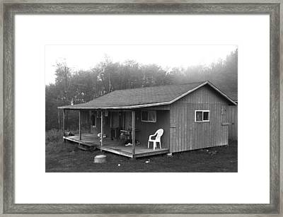Misty Morning At The Cabin Framed Print