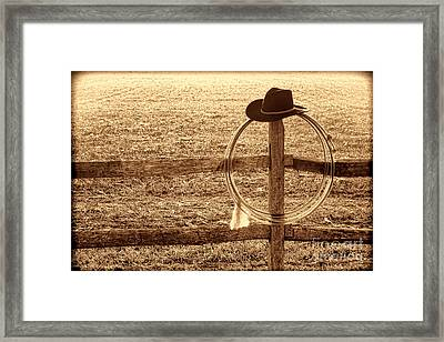 Misty Morning At The Ranch Framed Print