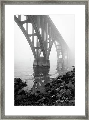 Misty Morning At Yaquina Bridge Framed Print by Inge Johnsson