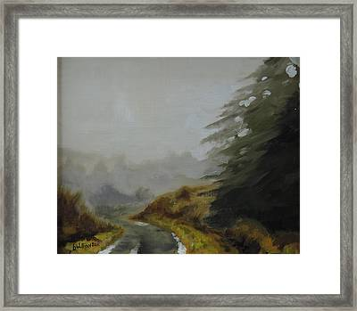 Framed Print featuring the painting Misty Morning, Benevenagh by Barry Williamson
