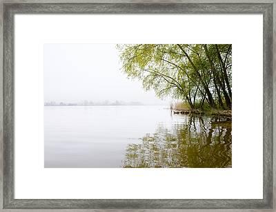 Misty Morning By The Lake Framed Print