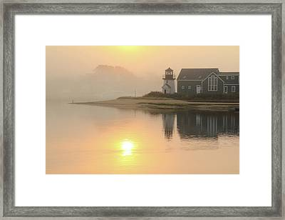 Misty Morning Hyannis Harbor Lighthouse Framed Print