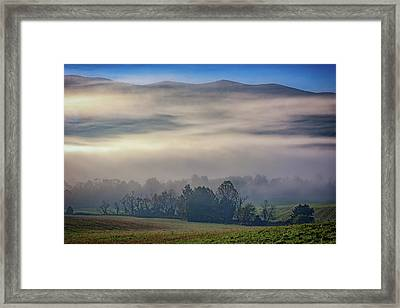Misty Morning In Cades Cove Framed Print