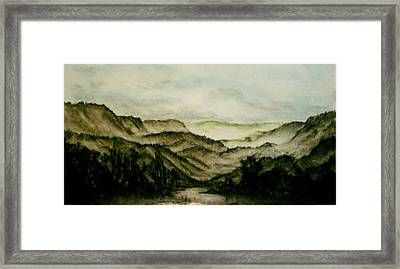 Misty Morning In Pa Framed Print by Karen Cortese