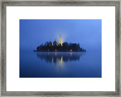 Misty Morning Lake Bled Slovenia Framed Print