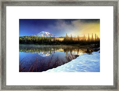 Misty Morning Lake Framed Print