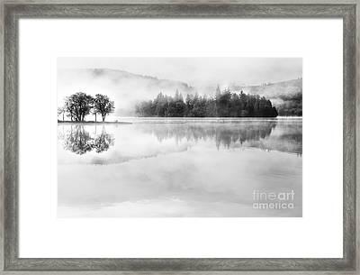 Misty Morning Loch Ard Framed Print by Janet Burdon