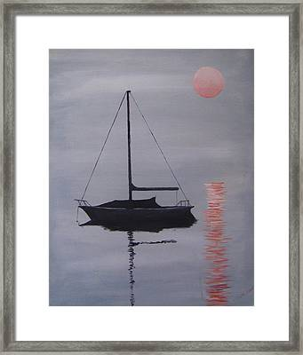 Misty Morning Mooring Framed Print