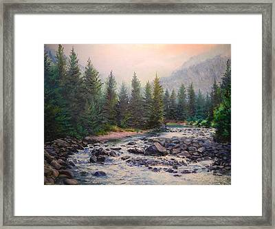 Misty Morning On East Rosebud River Framed Print by Patti Gordon