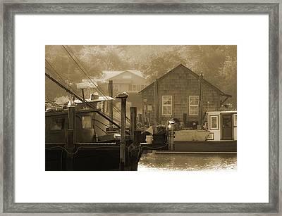 Misty Morning On Shem Creek  Framed Print