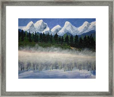 Misty Morning On The Mountain Framed Print