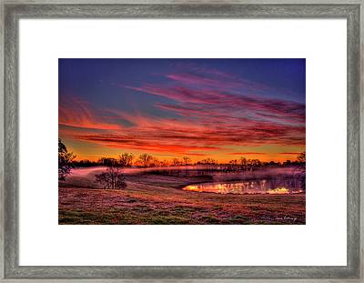 Misty Morning Other Worldly Sunrise Framed Print by Reid Callaway