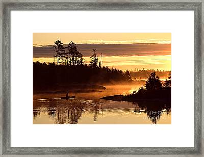 Framed Print featuring the photograph Misty Morning Paddle by Larry Ricker