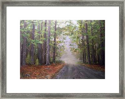 Framed Print featuring the painting Misty Morning Road by Ken Ahlering