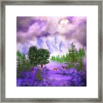 Misty Mountain Deer Framed Print