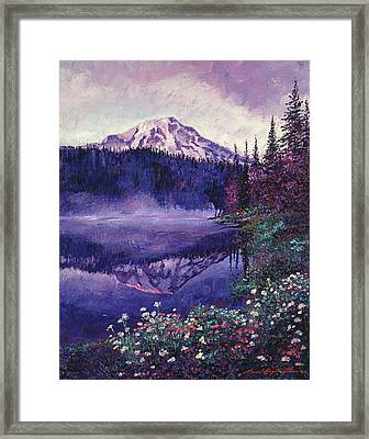 Misty Mountain Lake Framed Print by David Lloyd Glover